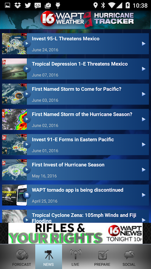 Hurricane Tracker 16 WAPT News- screenshot