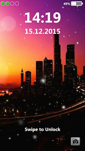 街の夜 ロック画面