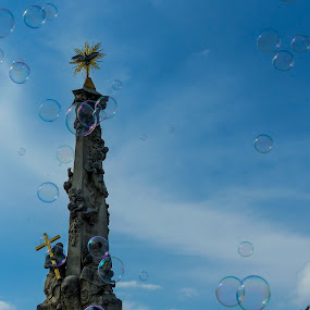 Bubbles and a monument by Alen Zita - Buildings & Architecture Statues & Monuments ( statue, sky, bubbles, monument, cross )