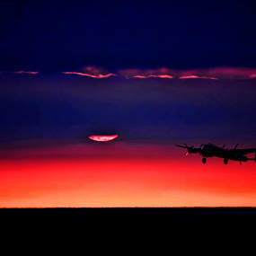Lancaster Bomber at Sunset by Tony Munro - Transportation Airplanes ( #canon80d, #sunset, #bombercommand, #digitalphotography, #raf, #bbmf, #airshow, #lancasterbomber, #ww2 )