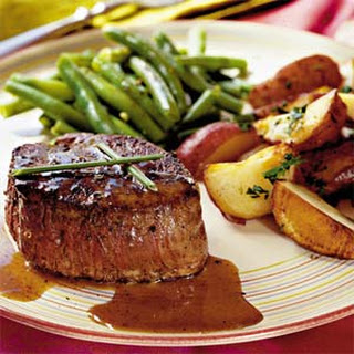 Steaks with Caramel-Brandy Sauce.