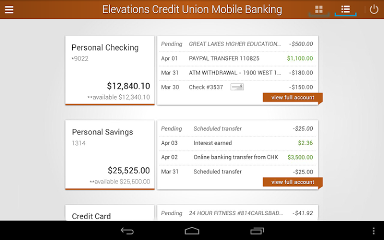 android Elevations Credit Union Mobile Screenshot 5