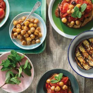 Smoky Grilled Chickpeas, Egglplan and Tomatoes.