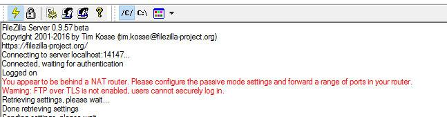 Error que parece al iniciar el servidor FTP