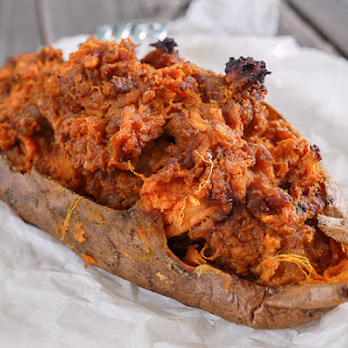 Twice Baked Sweet Potatoes with Chorizo.