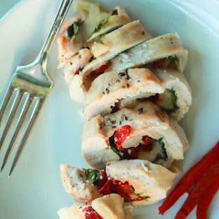 Roasted Red Pepper & Kale Stuffed Chicken Breasts.