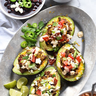 Taco Stuffed Avocados with Chipotle Cream