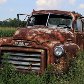 GMC by Marsha Biller - Artistic Objects Antiques ( front view, sitting, grassy, truck, gmc, cloudy, rusty,  )