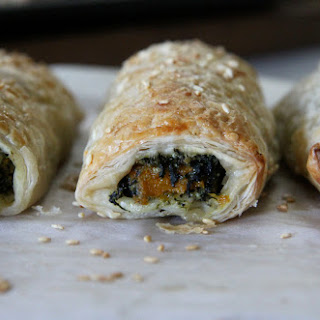Roasted Pumpkin, Spinach, Feta & Ricotta Rolls