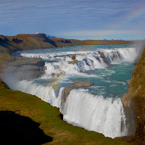 Gullfoss by Santford Overton - Landscapes Waterscapes ( landscapes, sky, rainbow, mountains, waterscapes, light, river, clouds, water, photography, colors )