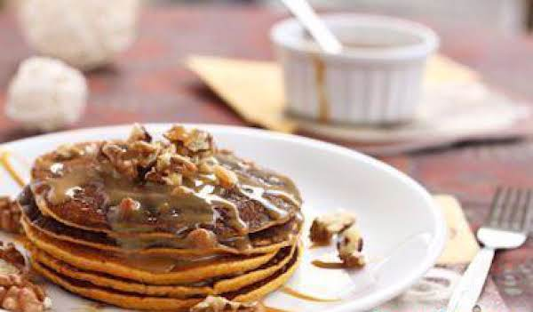 Toasted Coconut Whole Wheat Pancakes.  This One Has Pecan Syrup.  Yum Yum.