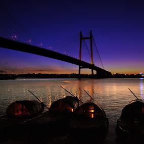 Kolkata- City of Joy by Subroto Mukherjee - Landscapes Beaches ( sunset, night, bridge, boat )