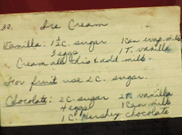 Home Made  Vanilla Ice Cream (fruit Optional) Recipe
