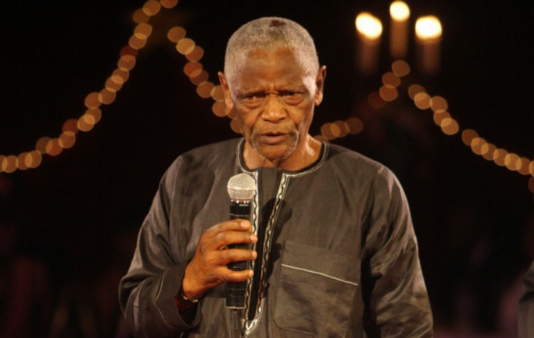Winston Ntshona receiving the Lifetime Achievement Award during the fifth annual South African Film Television Awards ceremony on February 27, 2011 in Johannesburg, South Africa.