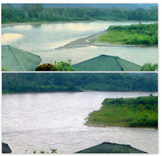 Photo: The river before the thunderstorm (above) and after (below)