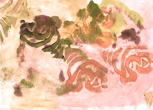 Photo: March 2012 Rose peels. Foam print on deli paper.