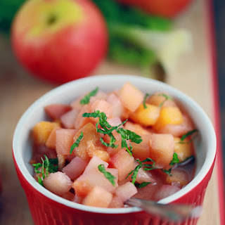 Sweet and Tangy Apple and Peach Chutney.