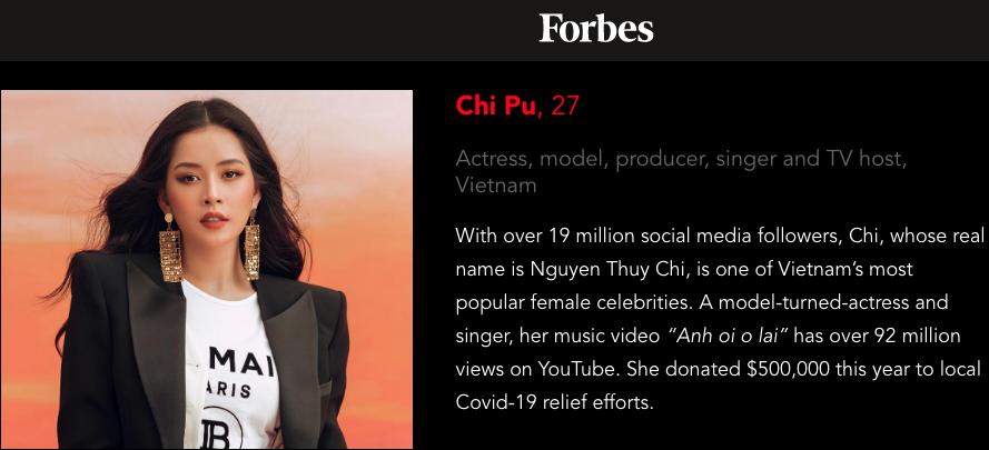 Dòng mô tả của Forbes về Chi Pu. (Ảnh: Forbes)