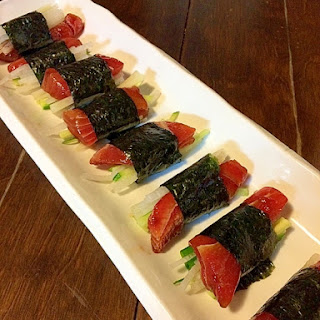 Sushi Rolls with Soy-Marinated Tuna and Vegetables