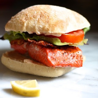 Salmon BLT Sandwiches with Spicy Garlic Mayo