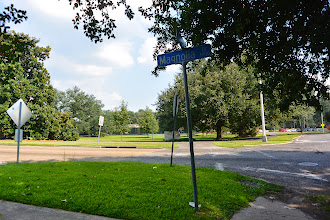 Photo: 28 July 2013.  And across the street (looking south towards LSU) we see the City Park sign and the tennis courts with their building.
