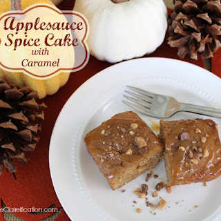 Applesauce Spice Cake with Caramel Topping