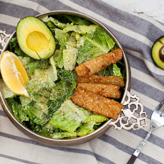Vegan Caesar Salad with Tempeh Bacon and Hemp Seed Parmesan.