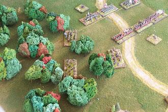 Photo: La battaglia a nord del campo di battaglia.Miniature Baccus, materiale scenico autocostruito.