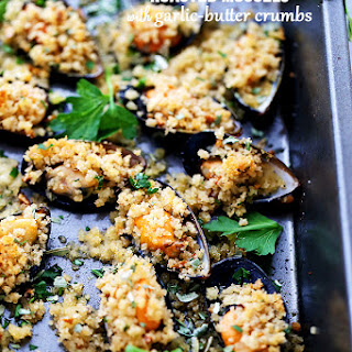 Roasted Mussels with Garlic-Butter Crumbs.