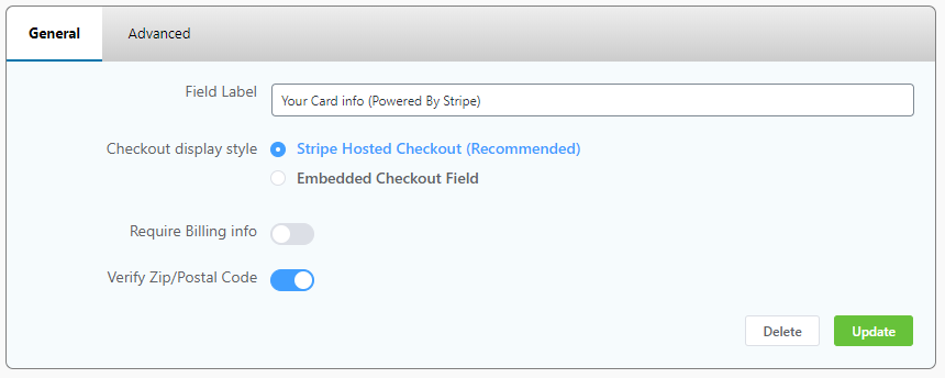 stripe card info, wppayform payment form settings