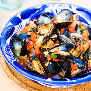 Mexican Mussels with Sausage, Mushrooms, and Chiles.