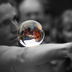 look into my crystal ball  by Danny Charge - People Musicians & Entertainers ( ball, b&w, edinburgh, glass, fun, fringe,  )