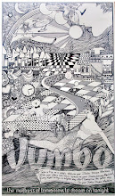 Photo: Jumbo Dream Machine. Pen and ink. Full page illustrated newspaper advertising