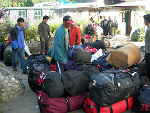 Photo: Organizing the expedition gear in Lukla