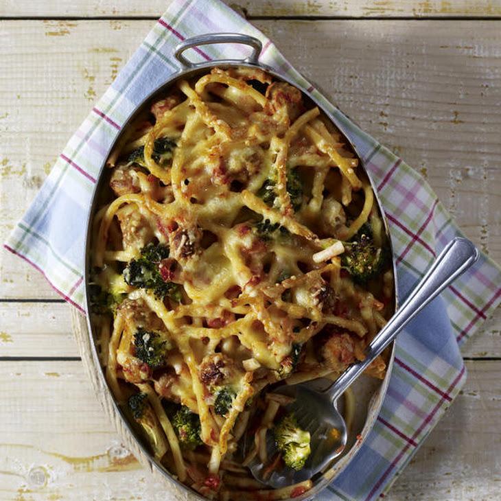 Macaroni Casserole with Broccoli and Meatballs Recipe