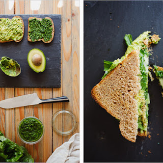 AVOCADO SANDWICH WITH GREEN HARISSA.
