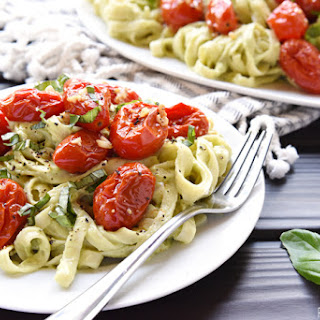 Avocado Fettuccine with Roasted Tomatoes.