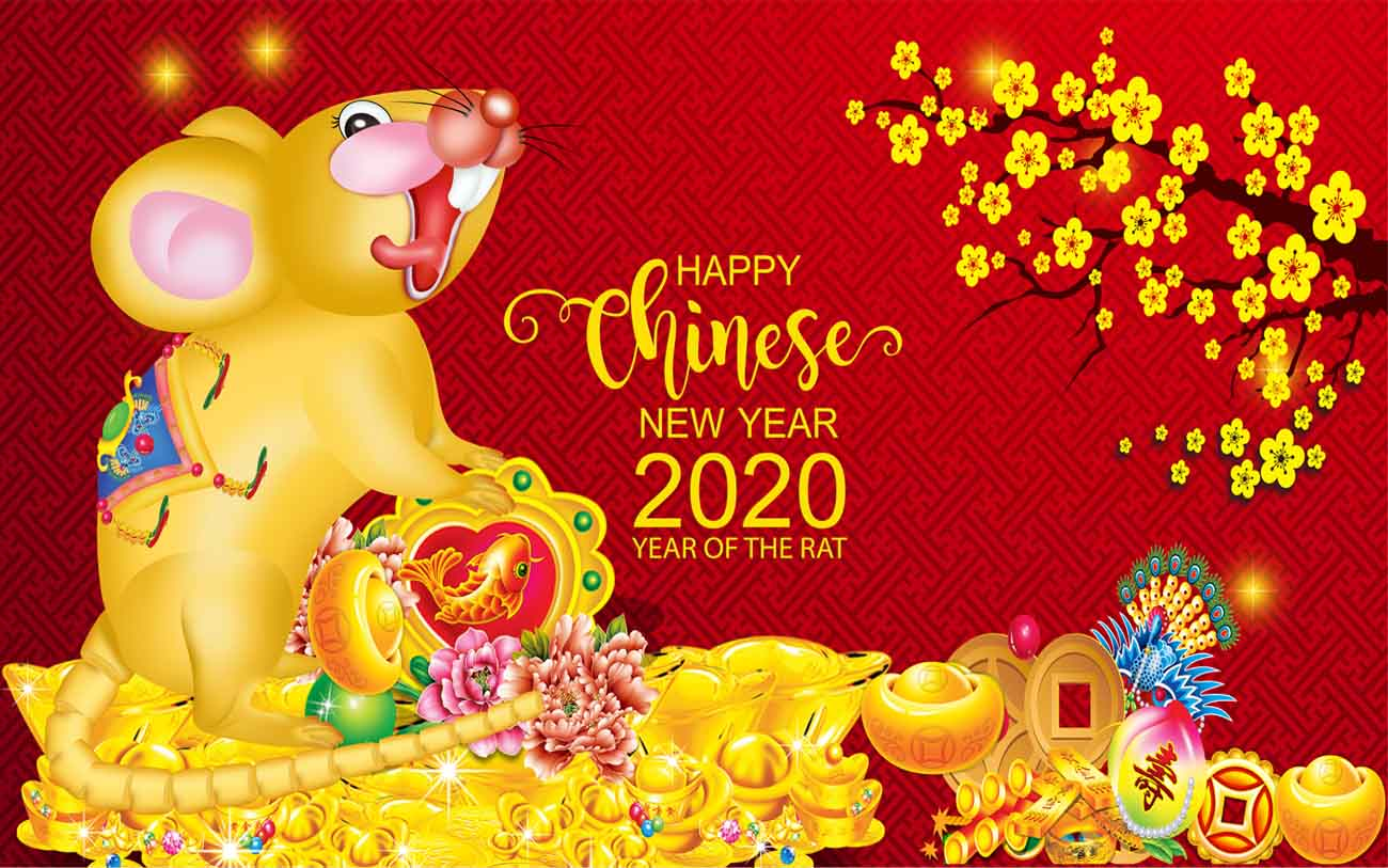 Vector – Happy chinese new year 2020 Zodiac sign with gold rat paper cut art and craft style on color Background.