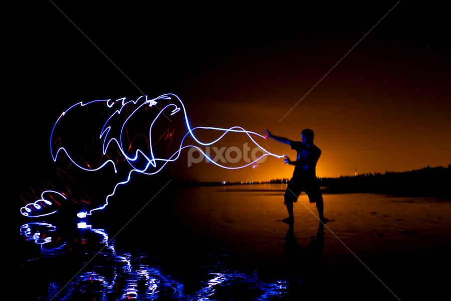 Super Powers by Blake Farnham - Abstract Light Painting ( magic, reflection, light painting, ninja, electric, beach, martial arts )