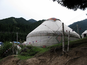 Photo: The kazakh yurts are very similar to Mongolian gers, but with a more conical top.