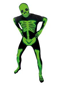 Morphsuit, självlysande skelett