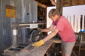 Photo: Steve Marschke fashioning new guide posts for artifacts around the Goffs Cultural Center. (Scott Braley)