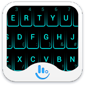 Neon Blue Keyboard Theme