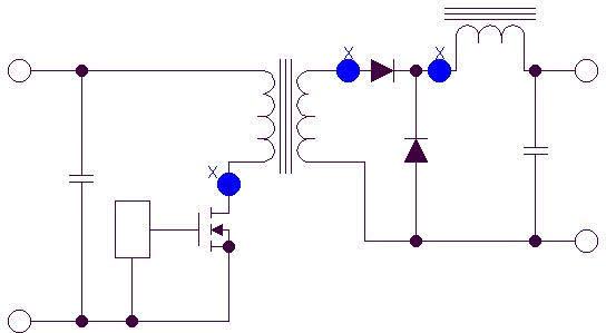High dv/dt areas on a forward converter