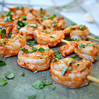Grilled Shrimp with Salsa and Garlic Marinade