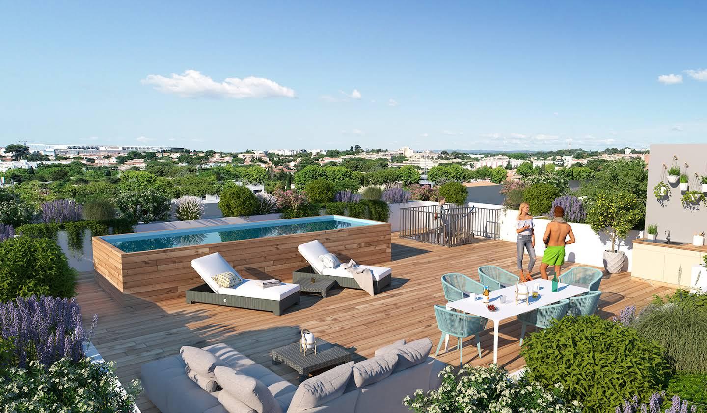 Appartement contemporain avec terrasse et piscine Montpellier