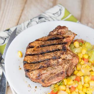 Ancho Chili Rubbed Pork Chops with Corn Saute.