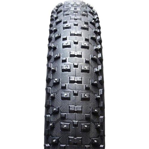"Vee Tire Co. Snowshoe XL Studded Fat Bike Tire: 26"" x 4.8"" 120tpi Folding Bead Silica Compound Black"