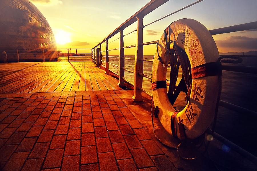Golden view by Hiro Ytwo - City,  Street & Park  City Parks ( reflection, park, sea, sunlight, city )