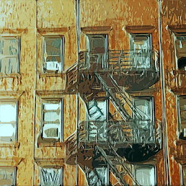 Apartment House by Edward Gold - Digital Art Things ( tan, digital photography, fire escape, brown, windows, digital art,  )
